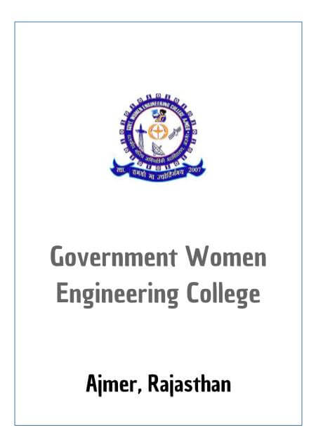 Resume Design - GWECA - GOVERNMENT WOMEN ENGINEERING COLLEGE, AJMER
